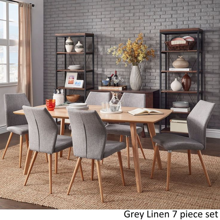 Abelone Scandinavian Oak Dining Set By MID Century Living 6PC Gray Linen W 4 Chairs 1 Bench Grey Size 6 Piece Sets