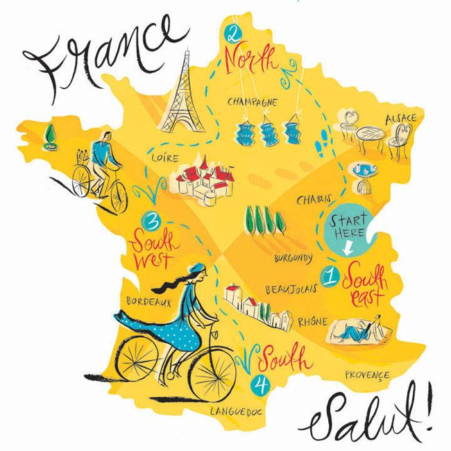 Map of France illustrated by Katy Dockrill
