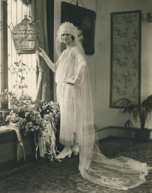 Caroline Nickol LaBine posing in her stylish wedding dress, c. 1920s