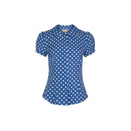 Retro top Lindy Bop Linda Sky Blue Polka Nádherný modrý top s menším bílým puntíkem. Obléknete ho k sukni, džínám i kraťasům a stále budete TOP, ať budete kdekoli. Zapínání na knoflíčky, kulatý límeček, mírně nabíraný rukáv. Příjemný pružný materiál (97% bavlna, 3% elastan).