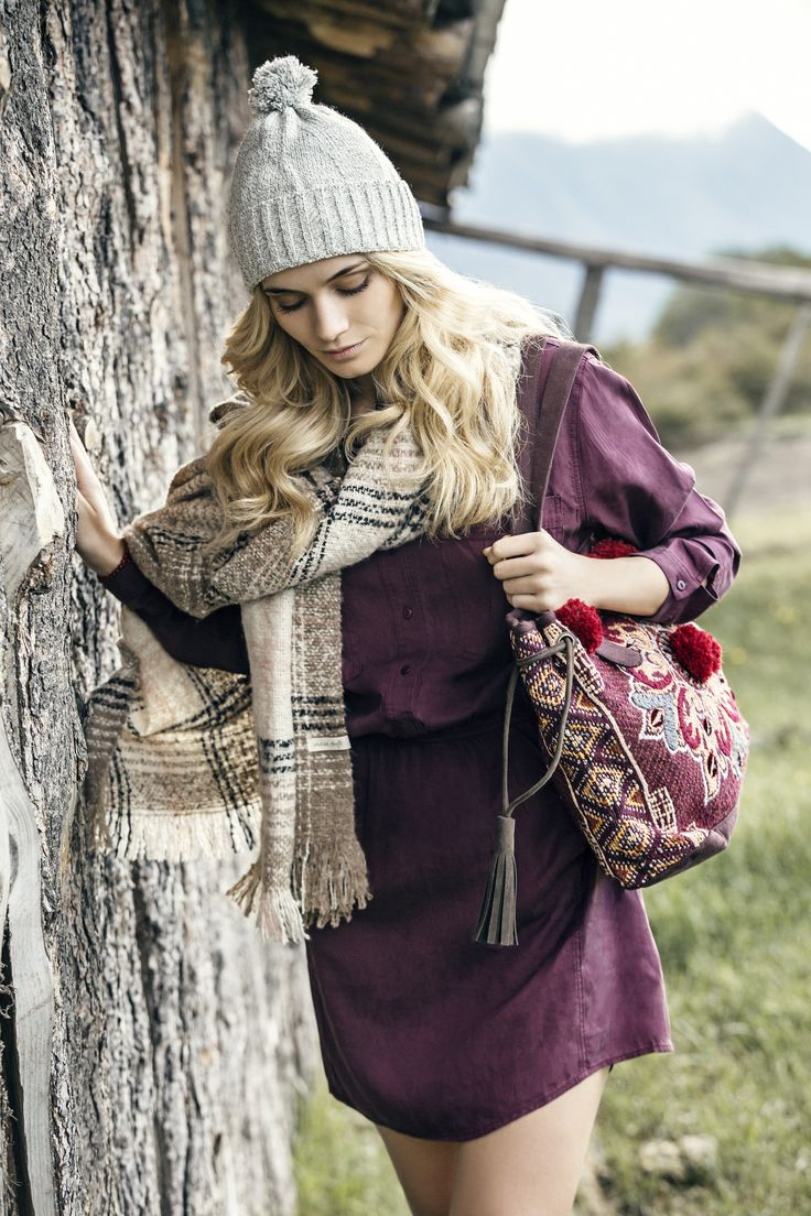 *Vestido Matisse *Cartera Copper *Chal Maga *Gorro Prunus #FancyNomad #IndiaStyle #Colección #Lookbook #FW16