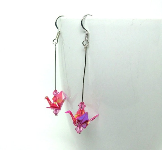 miniature tiny origami paper crane earrings by lovelyelement, $12.00