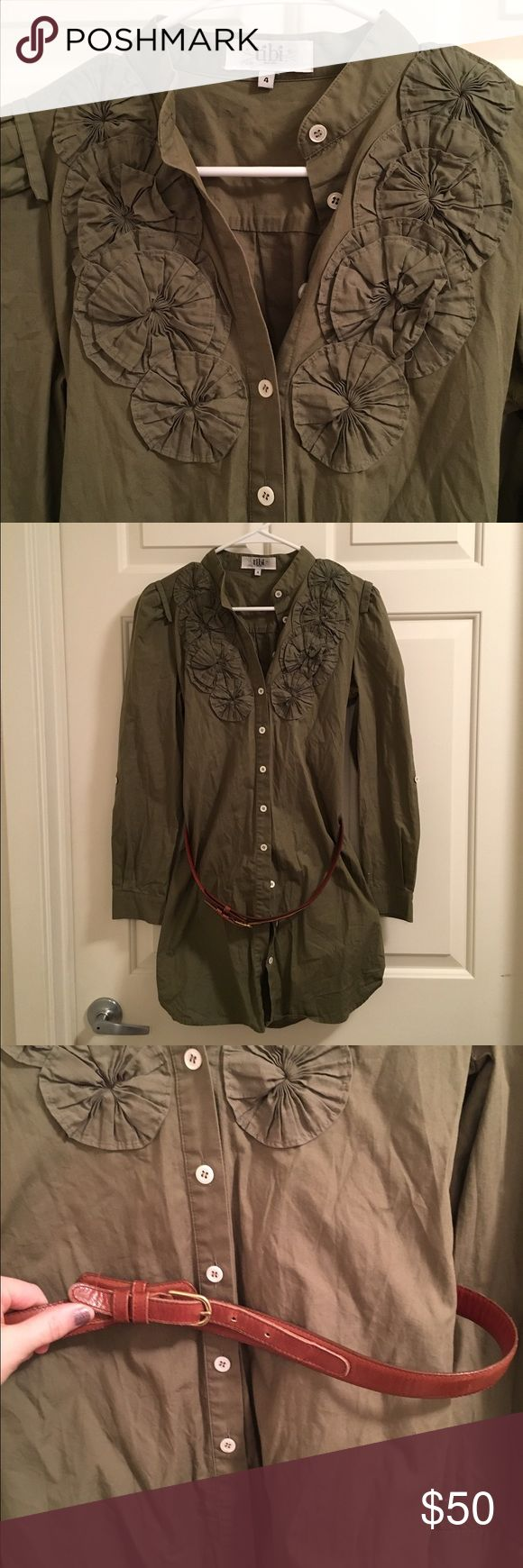 Tibi Shirt Dress NWOT safari green shirt dress/tunic, retails for $300!! Included is brown belt Tibi Dresses Mini