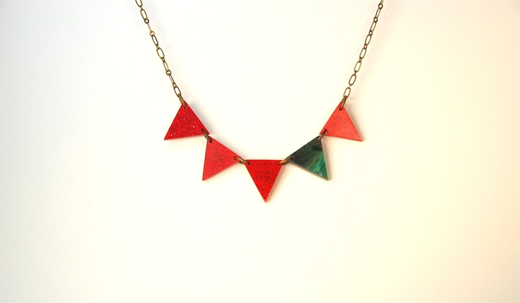Christmas Holiday Red and Green Pennant Necklace. $39.00, via Etsy.