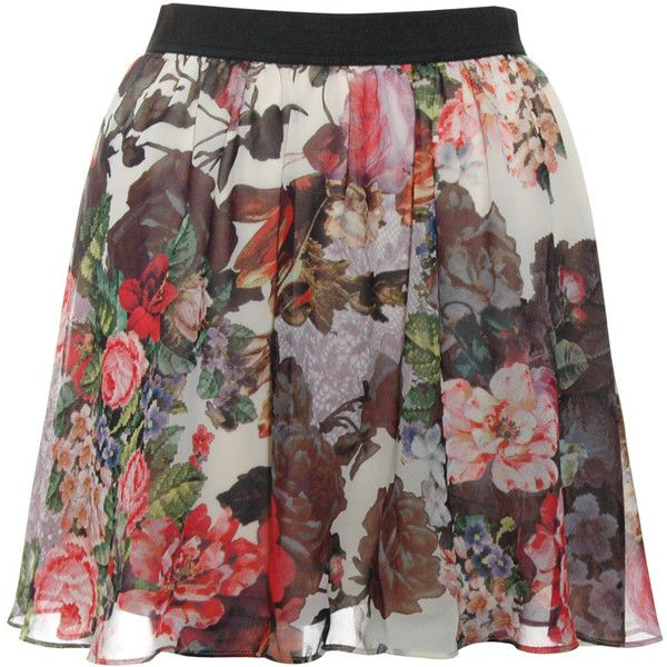 Rare London Floral Zip Front Skirt ($43) ❤ liked on Polyvore