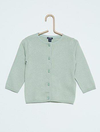 Katoenen vest met pailletten groen Meisjes babykleding - Kiabi