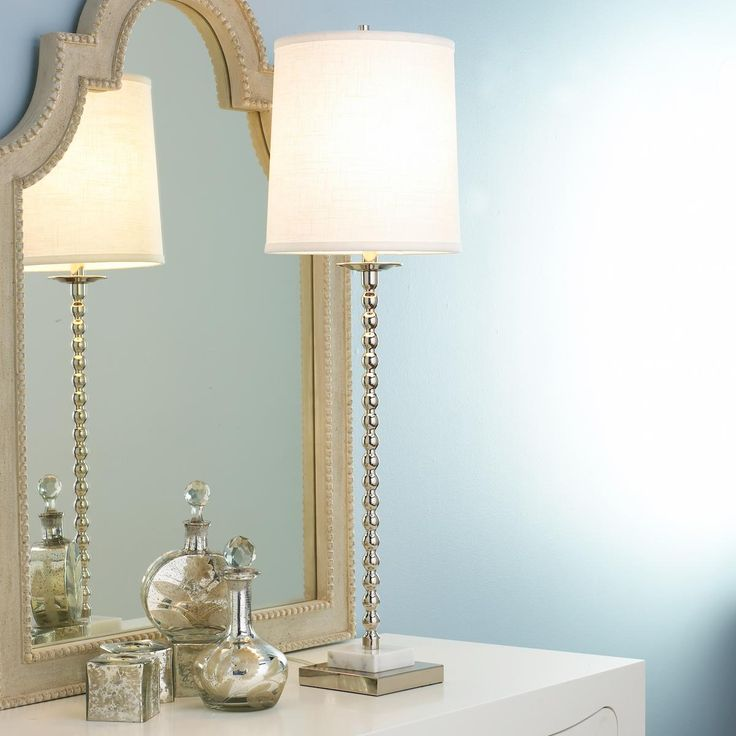 Foyer Table Lamps : Chrome with marble base table lamp foyer entrance way