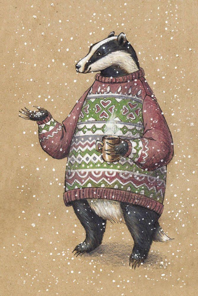 Shop cardinbox.net - Рисованная авторская почтовая открытка с барсуком из серии «Зверушки в свитере и с кружкой»