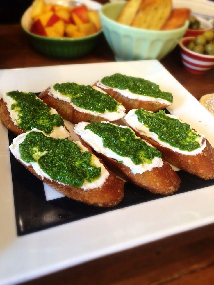 lemon ricotta, arugula and spinach pesto, on lightly toasted crostini ...
