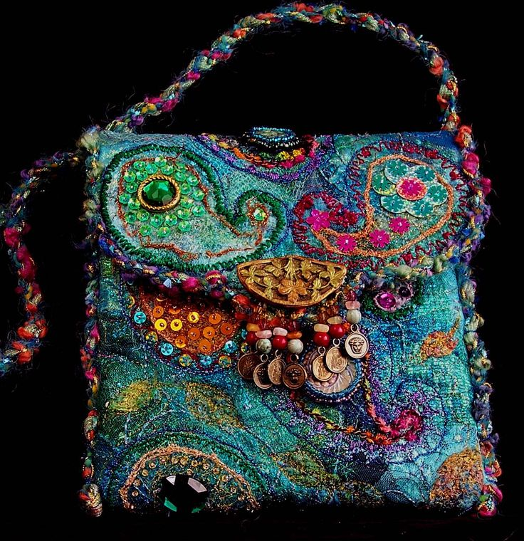 Infamous Paisley Purse.  Collage fabric background with felted, embroidered, beaded and sequined paisleys