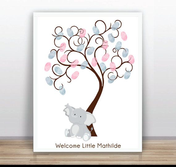 Elephant Fingerprint tree PRINTABLE Thumbprint Tree Guest Book Poster Nursery Wall Art  pink Custom Text Color and Language available #Pink #Wedding #PinkWedding #Paper