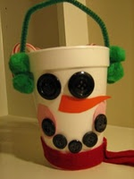 Cup snowman with felt and button face
