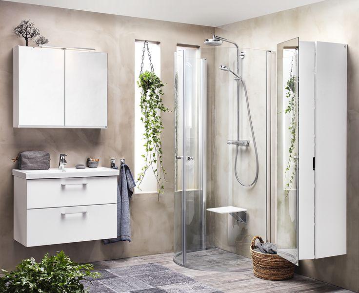 Nyhet 2017! Äntligen finns populära Udden även med lådor! Perfekt i det lilla badrummet. Matcha med snyggt, stilrent spegelskåp med belysningsarm.