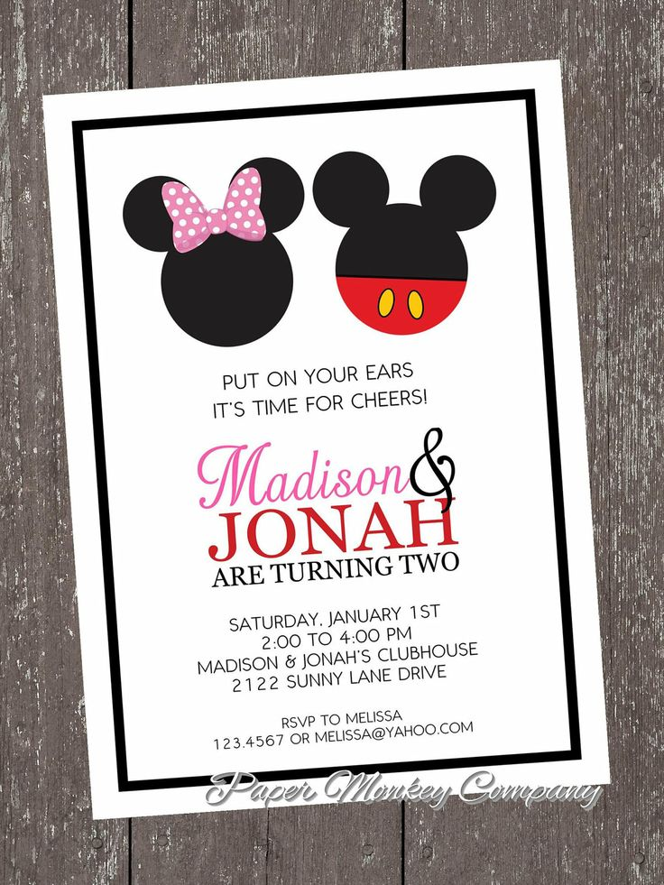 Best 25 Minnie mouse birthday invitations ideas – Mickey and Minnie Party Invitations