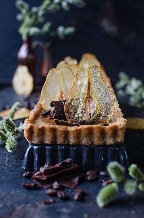 coffee panna cotta pear tart
