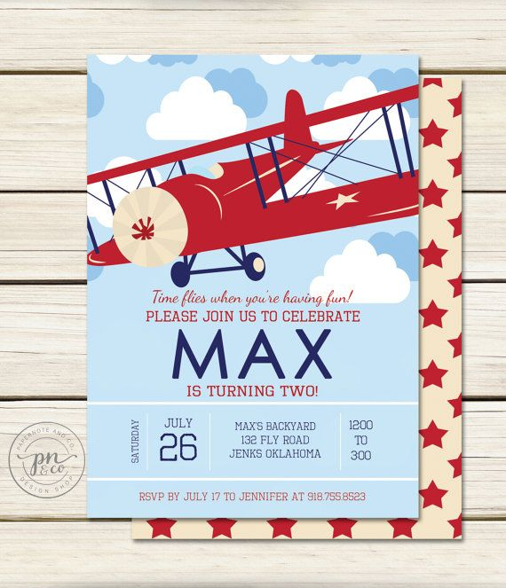 Airplane Birthday // Airplane Invitation // by papernoteandco