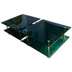 Sofa Tables by Raphael in Green Glass by Saint Gobain, France circa 1960 | From a unique collection of antique and modern sofa tables at https://www.1stdibs.com/furniture/tables/sofa-tables/