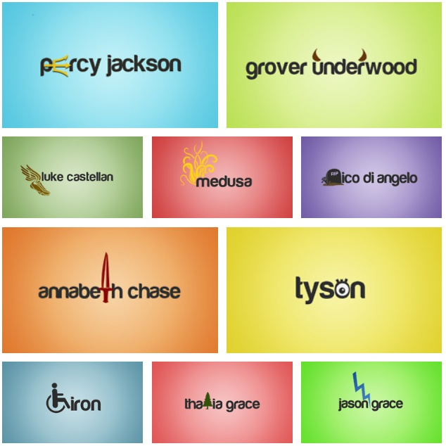 percy jackson main characters with symbols to represent