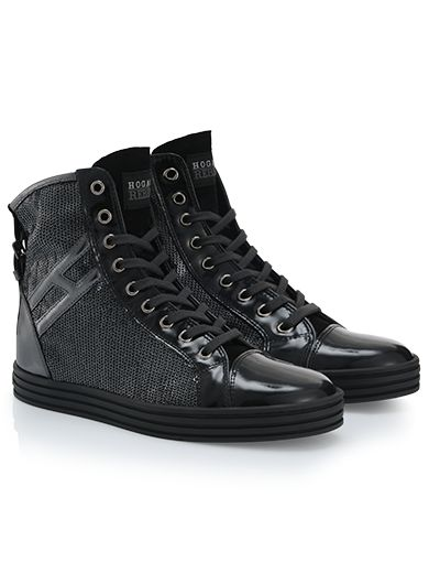 #HOGANREBEL R182 High-top #sneaker in #leather, back strap, rubber sole and invisible       #wedge inside. Explore #urban inspiration onhoganrebel.com/women