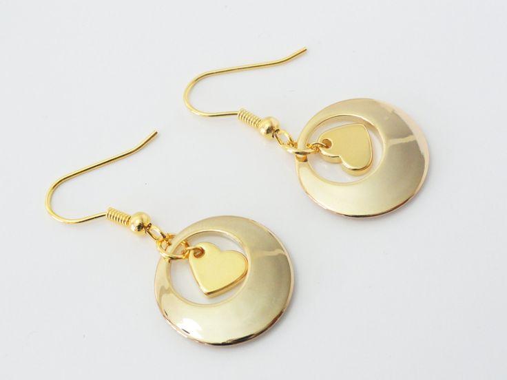 Geometric Earrings, Heart Earring, Circle Earrings, Circle Drop Earrings, Heart Dangle Earrings, Gold Earrings, Goft Idea, EMAN33 by PrettyMaNa on Etsy