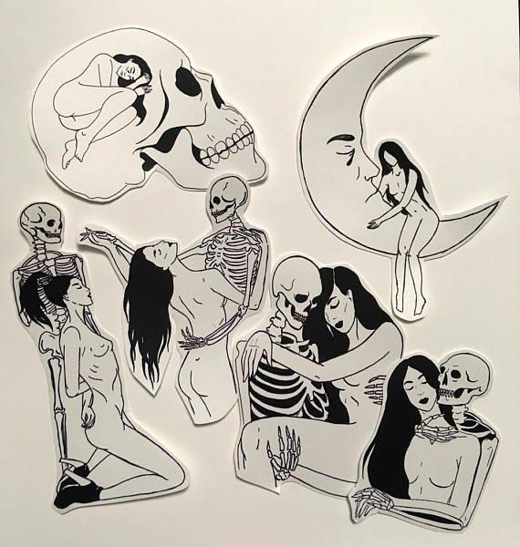 Love and Death Stickers #illustration #ink #graphic #drawing #sketch #lineart #darkartists #death #deathandthemaiden #lovers #sadgirl #skeleton #skull #reaper #macabre #minimalism #lowbrow #tattooart #punkart #love #darkromance #glambeckett