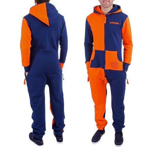 College Syracuse Orange Zooop Full Zip Fleece Jumpsuit - Navy Blue