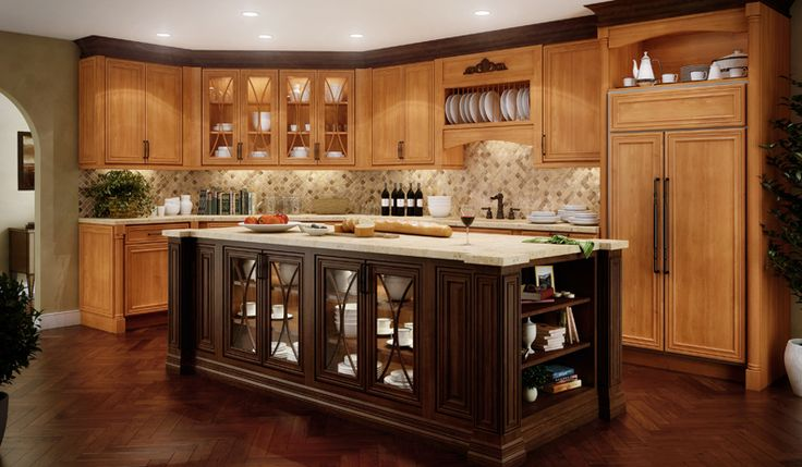 Stained Kitchen Upper Cabinets With Darker Stained Cabinet