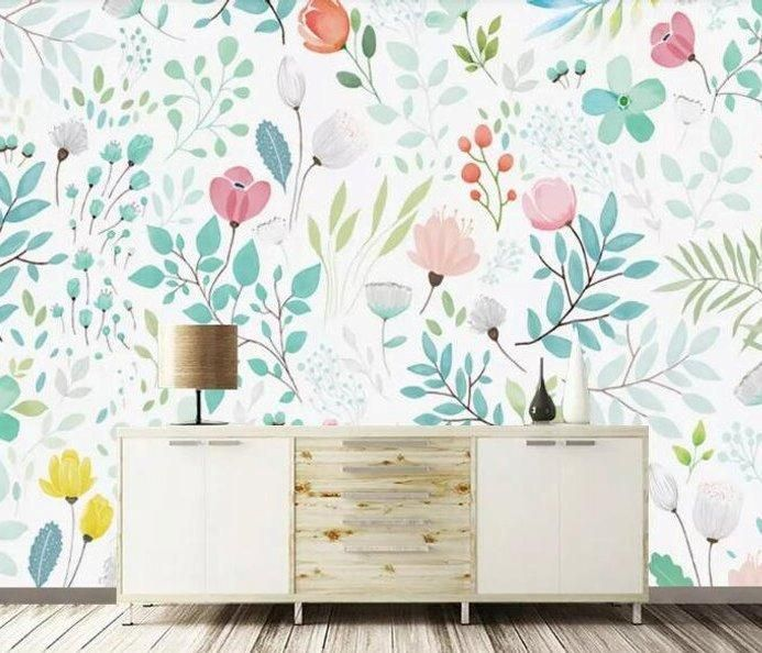 Botanical Floral Variance Wall Mural Sqm In 2020 Wall