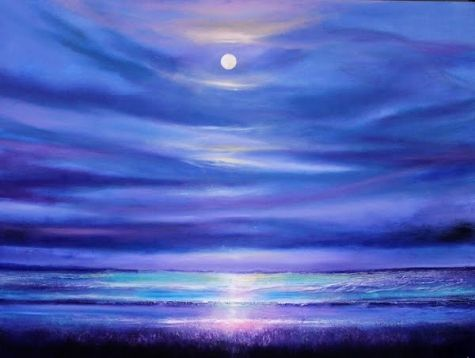 March 13 Original Oil Painting Ocean Beach Surreal Nighttime Moonlight 18x24, painting by artist Toni Grote