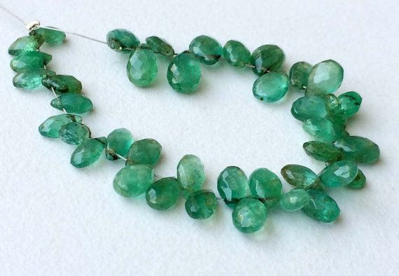Emerald Beads Emerald Faceted Pear Briolettes by gemsforjewels