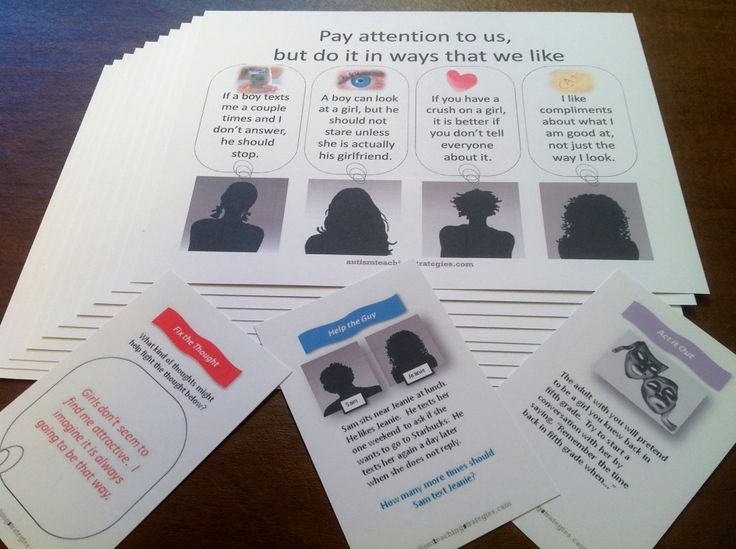 Helping teen boys with high functioning autism to relate to girls: Card game activity and social skills teaching materials from Joel Shaul, LCSW.  Very cool.