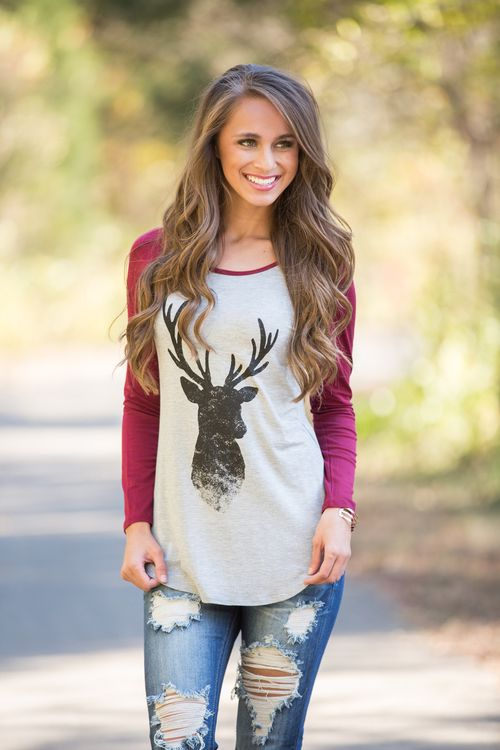 This adorable raglan style tee is sure to get you in the holiday spirit! This beautiful tee features a raglan style, with a heather grey bodice and stunning burgundy sleeves!