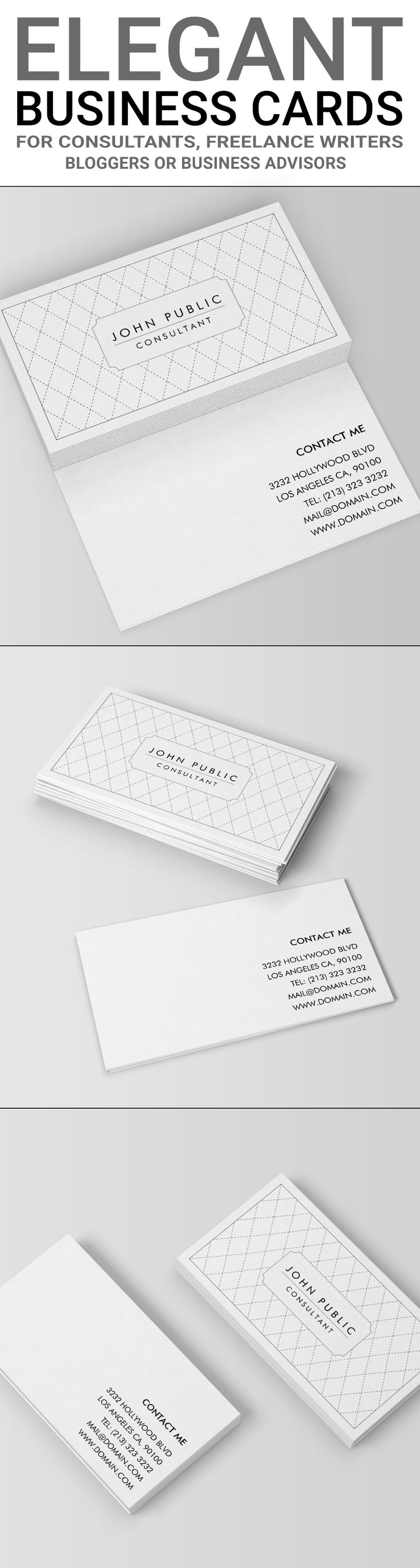 "Elegant Black and White Business Cards | It shows crossing lines of thin dark stitches forming a diamond pattern. The black and white design is two sided and set up on the standard business card size of 3.5"" x 2"". Ideal for small businesses such as consulting firms or business advisors, this elegant pattern design will suit an individual as well and work perfectly as a personal business card. Black and white is an elegant choice and it never goes out of style. This is an online template."