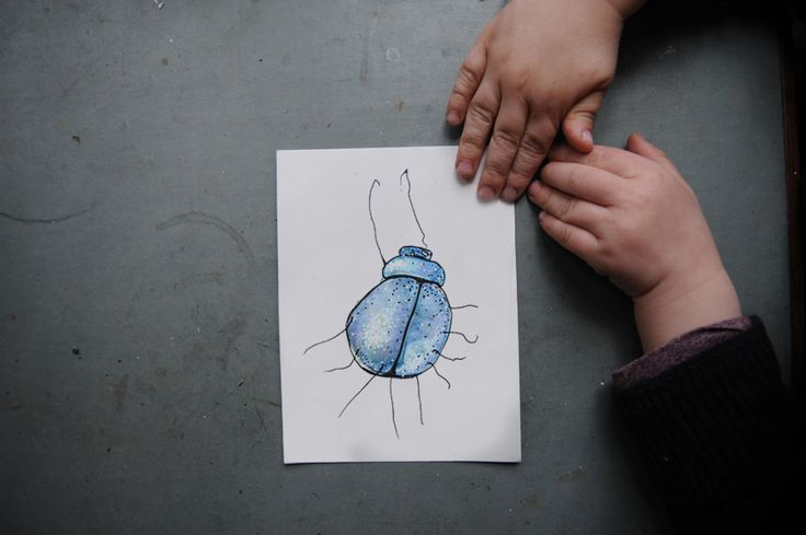 bug - chimaeren. painting with a toddler / watercolor / art / illustration / fun / diy / mom life / childhood