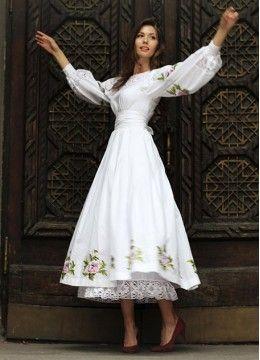 Белое льняное платье клеш |ПЛ-770216