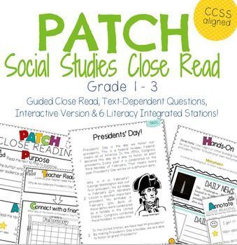 New PRESIDENTS' DAY close reading packet!!! PATCH is a guided, easy to use acronym for remembering the steps to close reading along with gradual release of responsibilities activities. Developed for grade 1, 2, and 3, this packet is aligned with Common Core standards for literacy integration. It is meant to guide students through the close reading process while learning about President's Day.