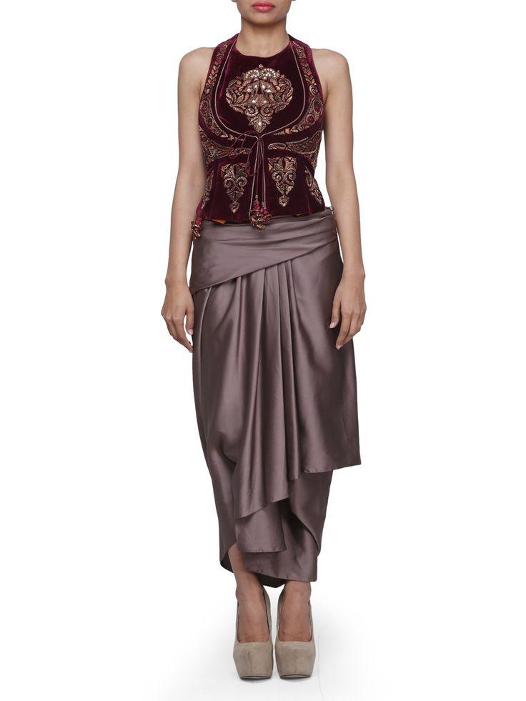 Angrakha Velvet Gilet And Drape Skirt | Tarun Tahiliani | BYELORA.COM