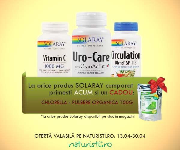 V-am pregătit o surpriză cât se poate de verde și de sănătoasă! Acum, la orice produs de la Solaray cumpărat din magazinul nostru primești o pulbere organică Chlorella la 100g GRATIS!