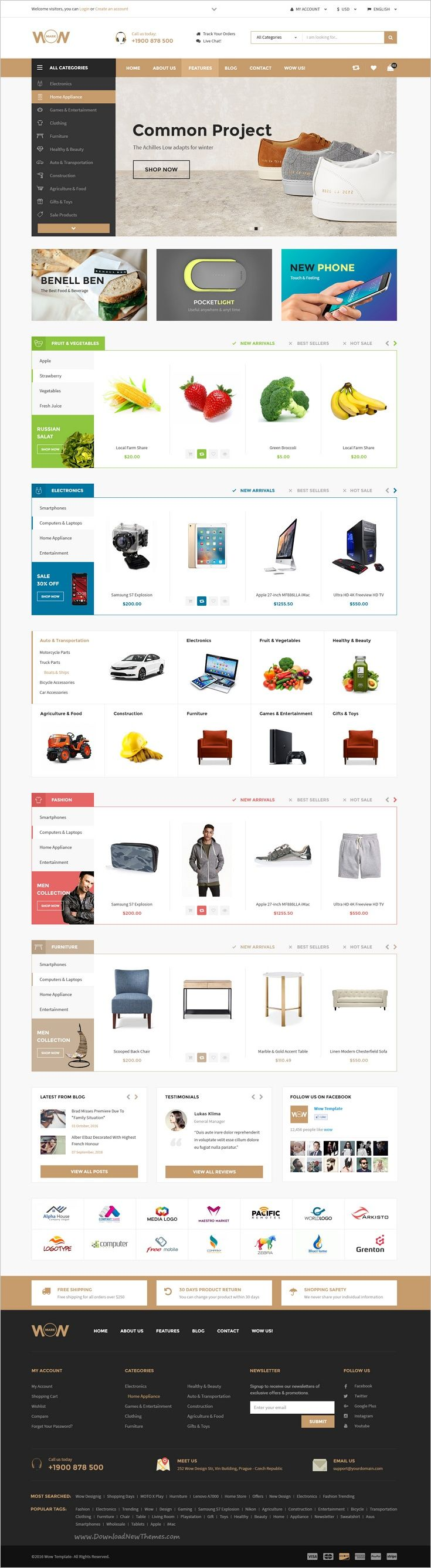 Wow is a modern and creative #PSD template for multipurpose #eCommerce #website with 16 homepage layouts and 47 organized PSD pages download now➩ https://themeforest.net/item/wow-multistore-psd-template/18829126?ref=Datasata