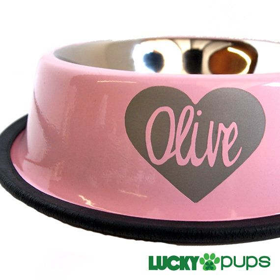 Baby Pink Dog Bowl Personalized Stainless Steel Dog by luckypups