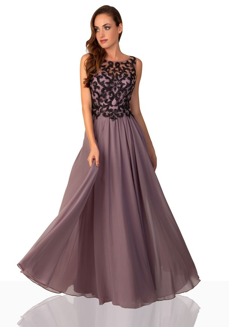 Taupe Abendkleid mit ornamentalem Dekor - bei VIP Dress online bestellen  http://www.vipdress.de/de/abendkleider/2337-taupe-abendkleid-aus-chiffon-mit-ornamentalem-dekor.html