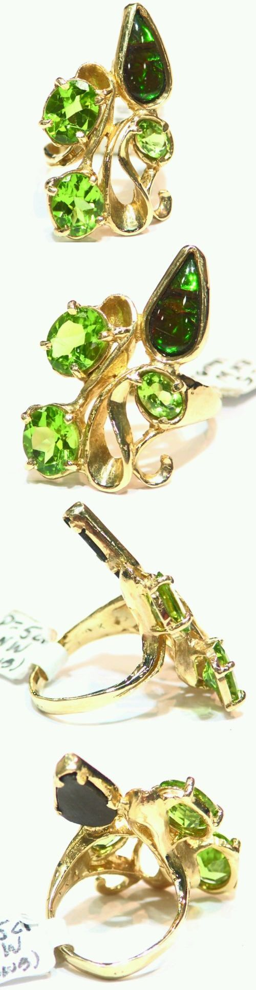 Rings 165044: 5.82Ct 14K Gold Natural Peridot Round Cut Ammonite Vintage Engagement Ring BUY IT NOW ONLY: $681.0
