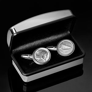 1928 Genuine Coin Cufflinks- First year Ireland minted its own currency.