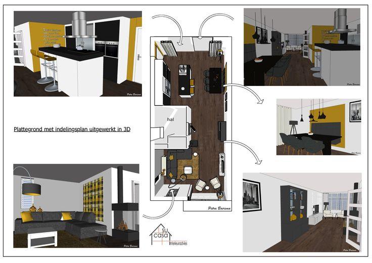 Interieuradvies voor woonkamer en keuken uitgewerkt in SketchUp