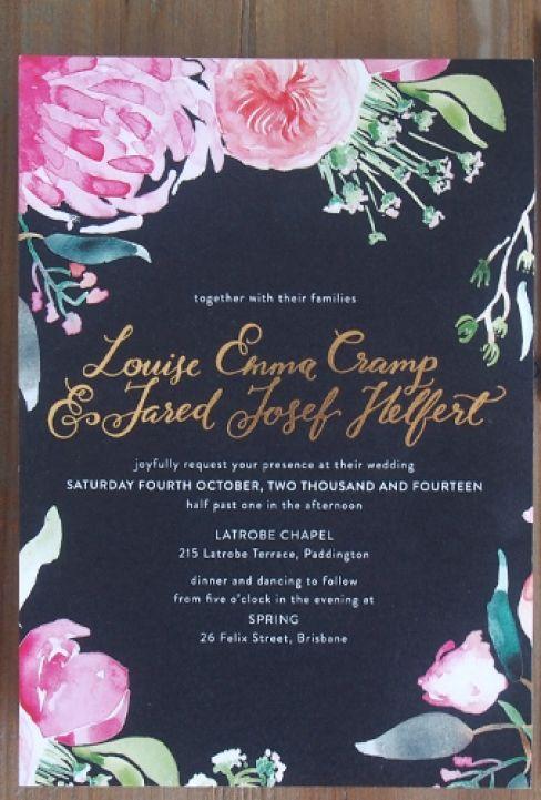 Gorgeous dark floral wedding invitations.