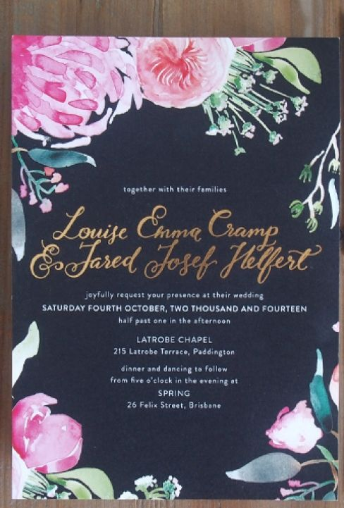 Gorgeous dark floral wedding invitations.
