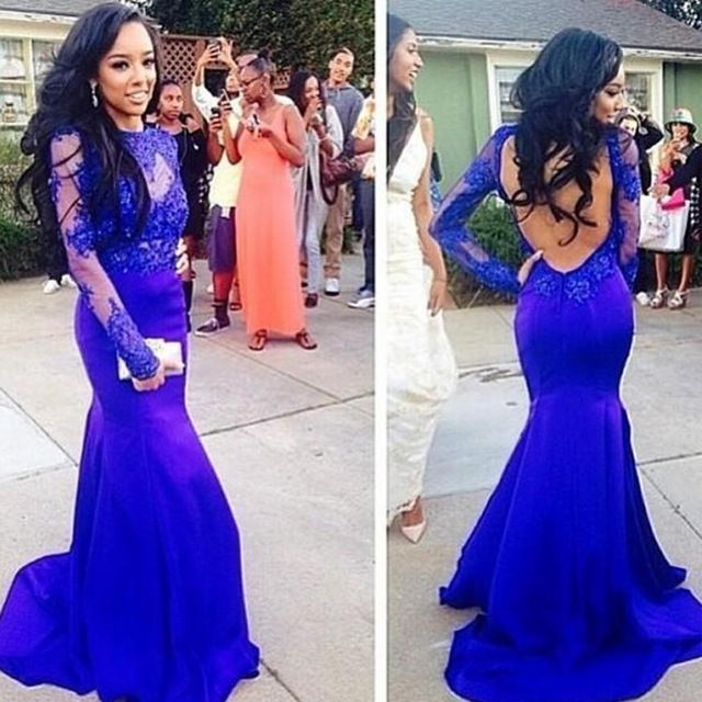 Mermaid Royal Blue Prom Dresses,Applique Prom Dresses,Long Sleeve Sweep Train Prom Dress,Lace Sheer High Neck Evening Gowns