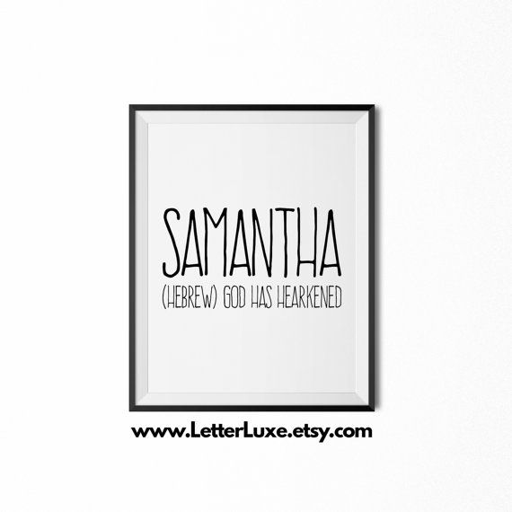 Samantha Name Meaning Art Printable Baby By LetterLuxePrintables