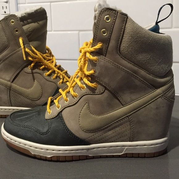 Nike Sky Hi dunks- wedge sneakers Beige/light brown and army green with yellow laces. Shearling lined. NWOT perfect condition - no scuffs, stains or imperfections. ----no trades Nike Shoes Athletic Shoes