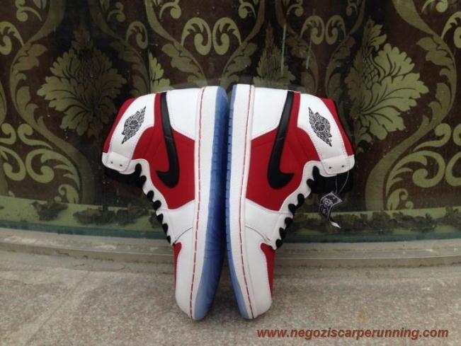scarpe calcio bambino Uomo-Donna 555088-123 AIR JORDAN 1 RETRO Bianco/Nero-Carmine